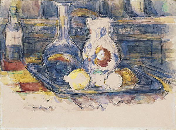 Food Groups Painting - Bottle, Carafe, Jug And Lemons by Paul Cezanne
