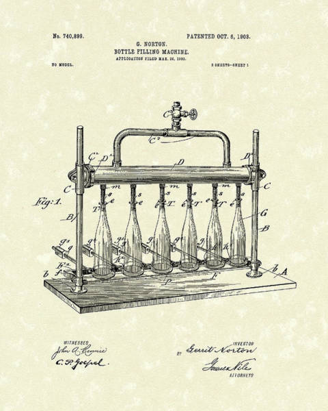 Drawing - Bottle Filling Machine 1903 Patent Art by Prior Art Design