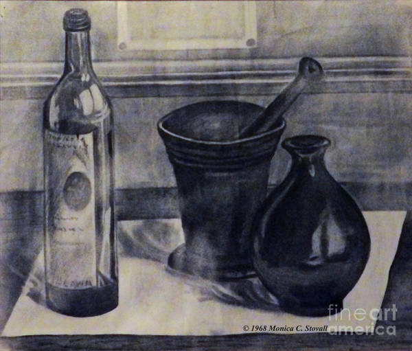Drawing - Bottle, Mortar And Pestle, Vase by Monica C Stovall