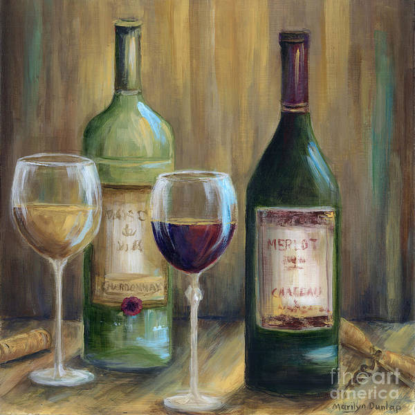 Wall Art - Painting - Bottle Of Red Bottle Of White   by Marilyn Dunlap