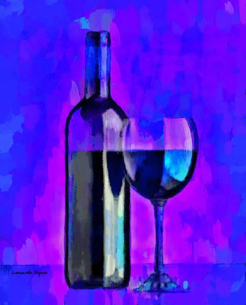 Cellar Digital Art - Bottle Of Wine Blue - Da by Leonardo Digenio