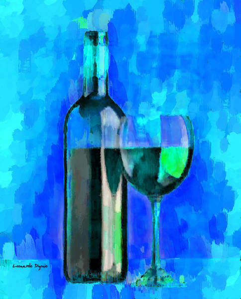 Cellar Digital Art - Bottle Of Wine Cyan - Da by Leonardo Digenio