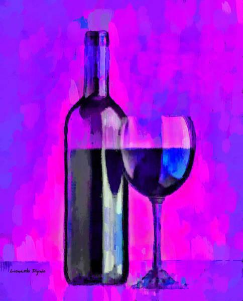 Cellar Digital Art - Bottle Of Wine Purple - Da by Leonardo Digenio