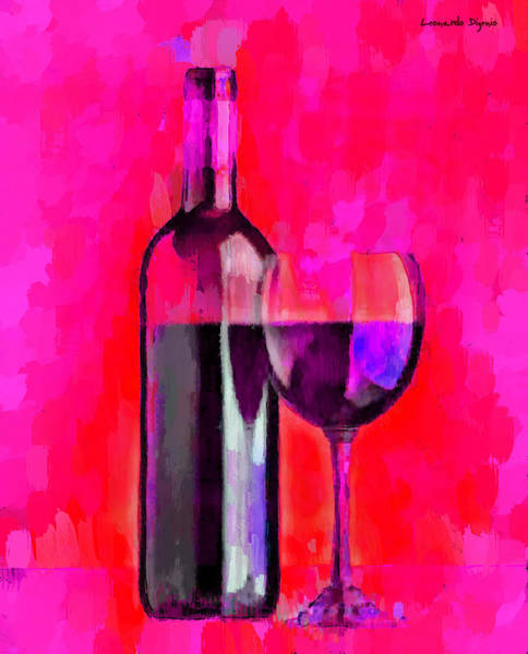 Cellar Digital Art - Bottle Of Wine Red - Da by Leonardo Digenio