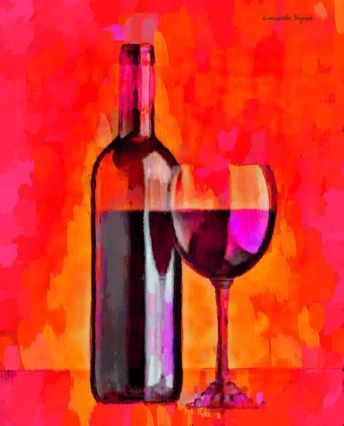 Cellar Digital Art - Bottle Of Wine Red-orange - Da by Leonardo Digenio