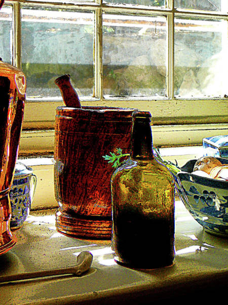 Photograph - Bottle With Mortar And Pestle by Susan Savad