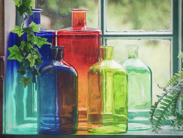 Photograph - Bottles In The Window by Teresa Wilson