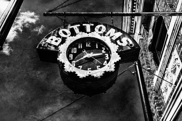 Photograph - Bottoms Clock Sign Black And White by Sharon Popek