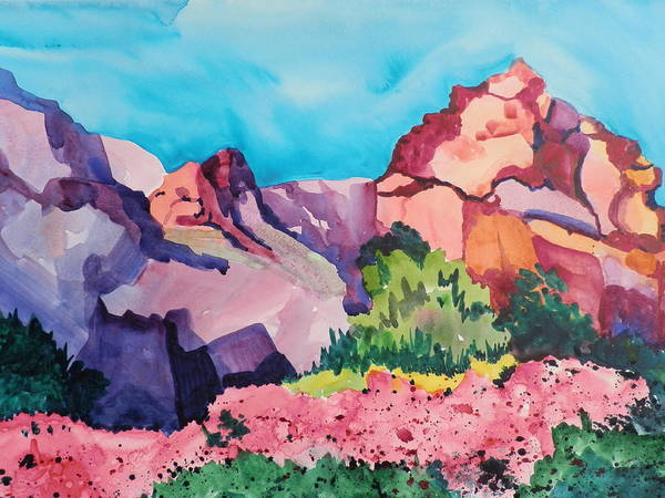 Elwood Blues Painting - Bougainvillea In The Mountains by Jann Elwood