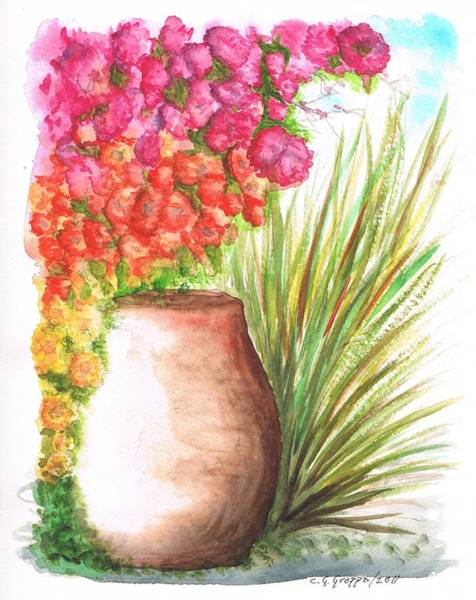 Acuarela Painting - Bougainvilleas With Larger Jar by Carlos G Groppa