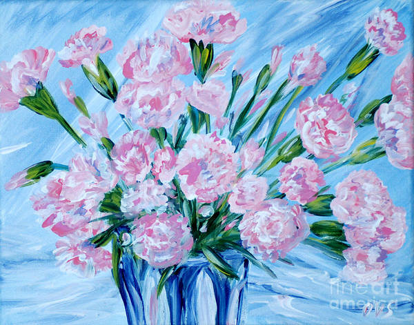 Painting -  Bouguet Of Carnations.  Joyful Gift. Thank You Collection by Oksana Semenchenko