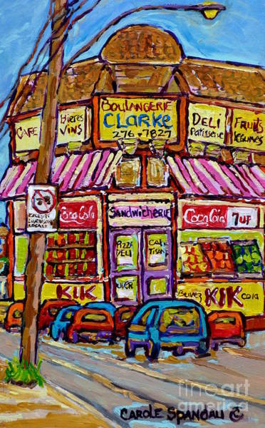 Painting - Boulangerie Clarke Rue Fairmount Montreal Storefront Canadian Painting Carole Spandau      by Carole Spandau