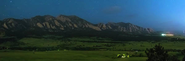 Wall Art - Photograph - Boulder Colorado Foothills Nighttime Panorama by James BO Insogna