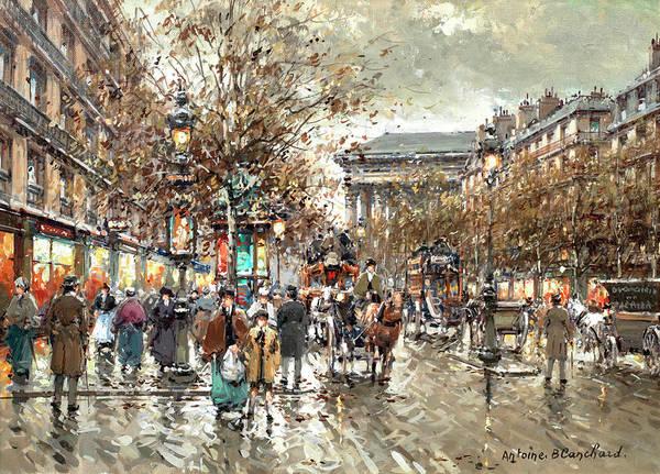 Boulevard Painting - Boulevard De La Madeleine by Antoine Blanchard