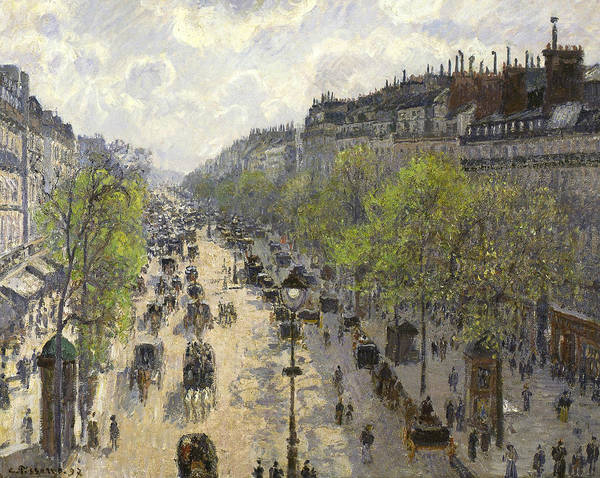 Camille Wall Art - Painting - Boulevard Montmartre Spring by Camille Pissarro