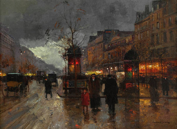 Trader Painting - Boulevards Of Paris by Edouard Henri Leon Cortes