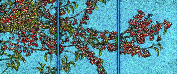 Digital Art - Bountiful Crabapples - Triptych by Joel Bruce Wallach