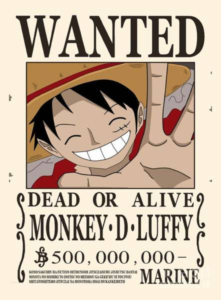 Brook Mixed Media - Bounty Luffy Wanted - One Piece by Aditya Sena