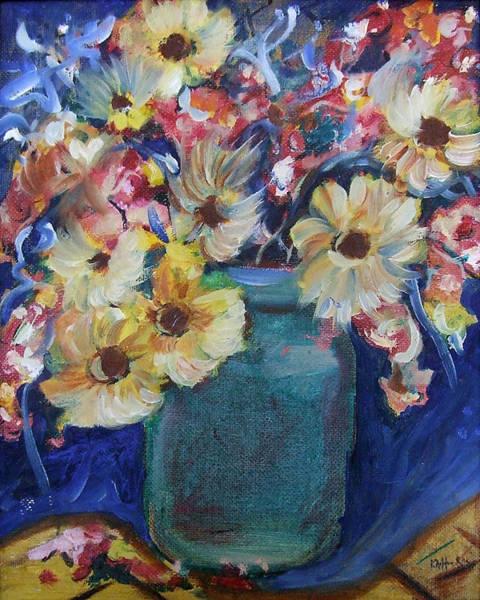 Bouquet Flowers Of Blue  Art Print