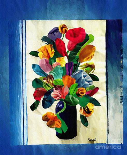 Floral Abstract Mixed Media - Bouquet In A Country Window by Sarah Loft