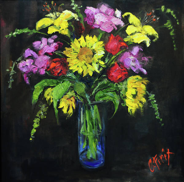 Wall Art - Painting - Bouquet In Glass Vase by Carole Foret