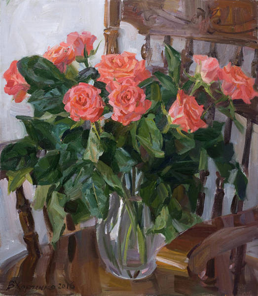 Wall Art - Painting - Bouquet In The Glass Jug by Victoria Kharchenko
