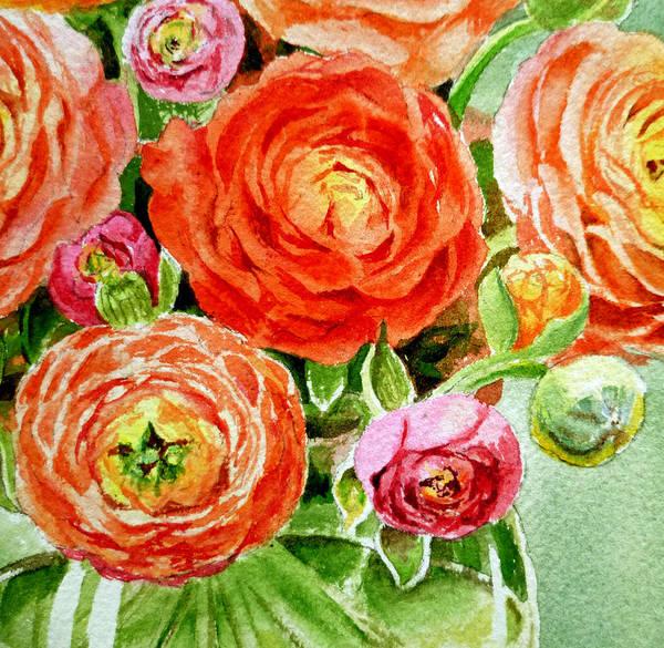 Girly Painting - Ranunculus Bouquet by Irina Sztukowski