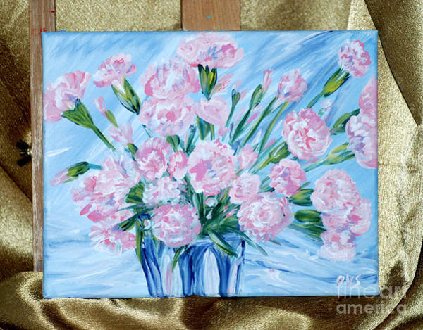 Painting - Bouquet Of Carnations. Thank You Collection. by Oksana Semenchenko