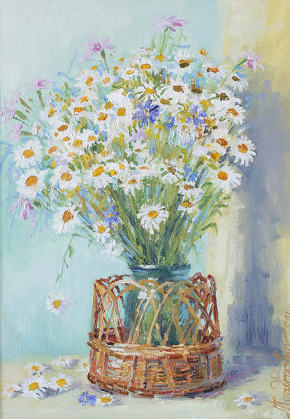 Painting - Bouquet Of Daises In Basket by Ilya Kondrashov