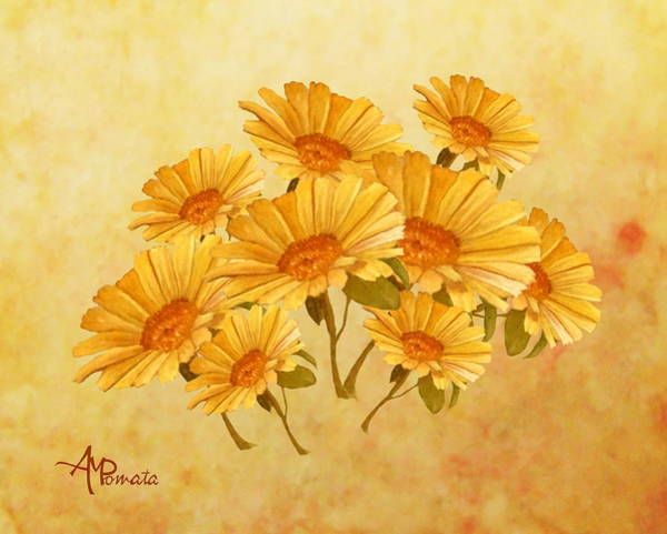 Mixed Media - Bouquet Of Daisies by Angeles M Pomata