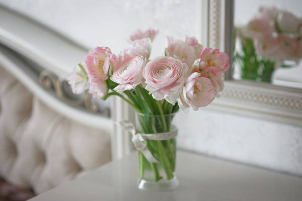Bouquet Of Delicate Ranunculus And Tulips In Interior Art Print
