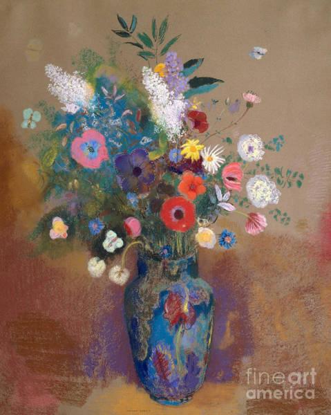 Wall Art - Pastel - Bouquet Of Flowers, 1905 by Odilon Redon