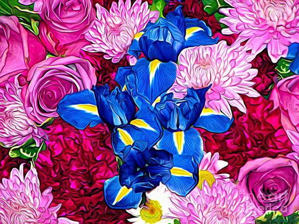 Photograph - Bouquet Of Flowers Expressionistic Effect by Rose Santuci-Sofranko