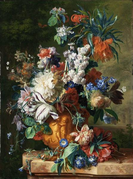 Painting - Bouquet Of Flowers In An Urn by Celestial Images