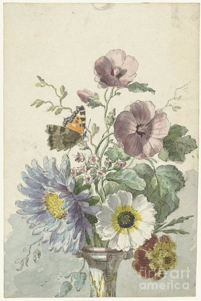 Painting - Bouquet Of Flowers With A Butterfly by Celestial Images
