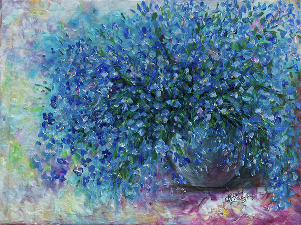 Painting - Bouquet Of Forget Me Nots - 2 Oil Painting With A Palette Knife  by OLena Art - Lena Owens