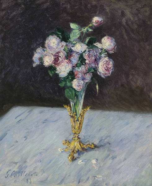 Painting - Bouquet Of Roses In A Crystal Vase by Gustave Caillebotte