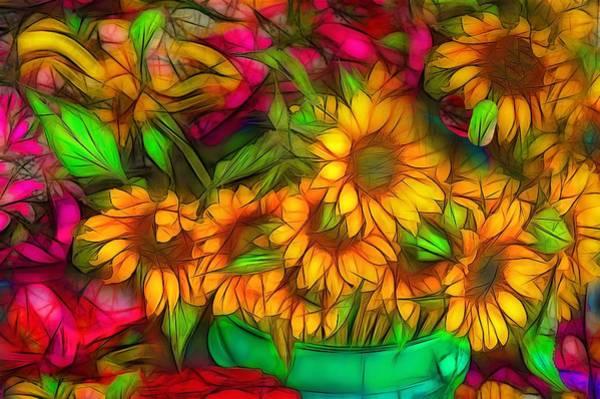 Fleur Digital Art - Bouquet Of Sunflowers by Jean-Marc Lacombe