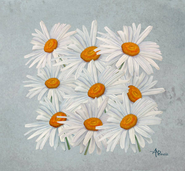 Mixed Media - Bouquet Of White Daisies by Angeles M Pomata