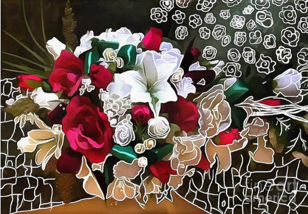 Painting - Bouquet Roses Hand Lined Design  by Catherine Lott