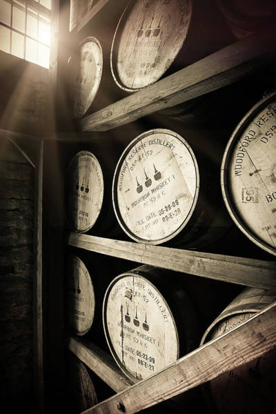 Oak Photograph - Bourbon Barrels By Window Light by Karen Varnas