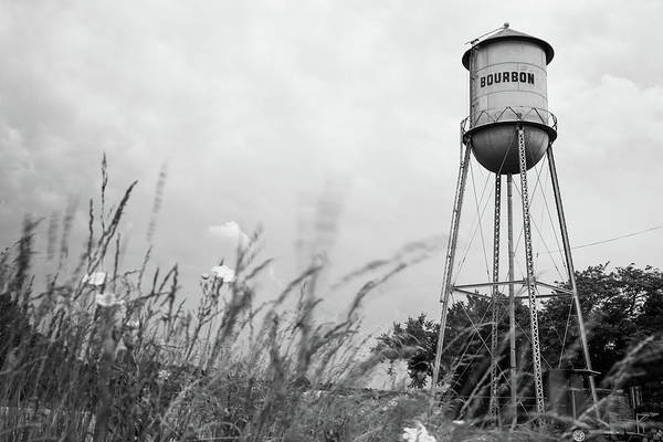 Photograph - Bourbon Black And White Tower And Wheat Grass by Gregory Ballos