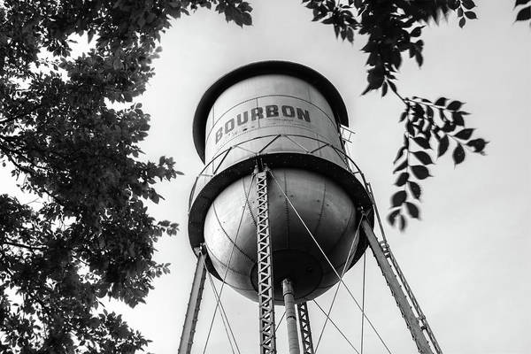 Photograph - Bourbon Missouri Usa Vintage Water Tower - Black And White by Gregory Ballos