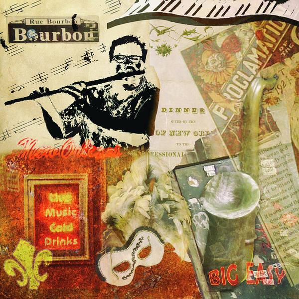 Fleur Digital Art - Bourbon Street Collage by Eduardo Tavares