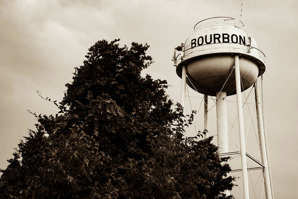 Photograph - Bourbon Whiskey Water Tower And Tree - Sepia  by Gregory Ballos