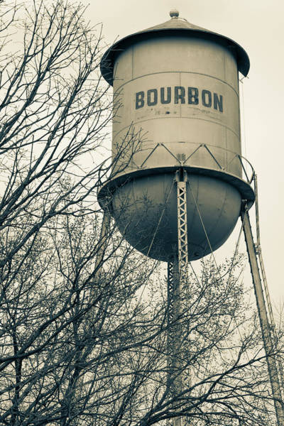 Photograph - Bourbon Tower - Vintage Whiskey Water Tower - Sepia - Missouri by Gregory Ballos