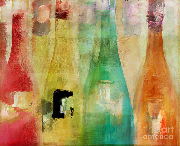 Champagne Painting - Bouteilles by Mindy Sommers