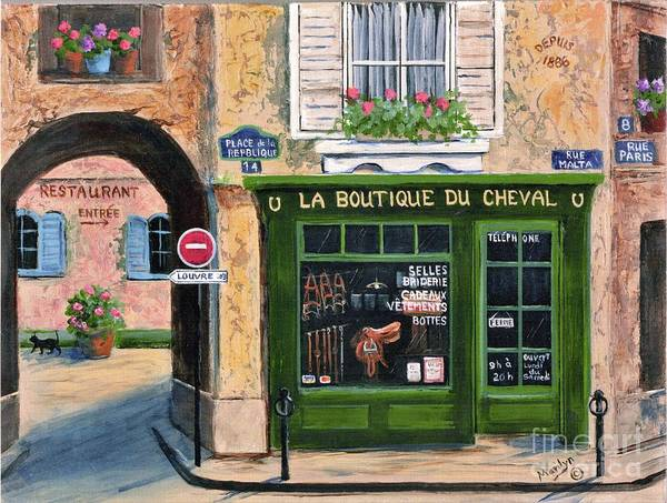 Flower Shop Painting - Boutique Du Cheval by Marilyn Dunlap
