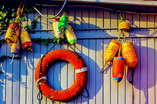 Crabbing Photograph - Bouys And Life Ring by Garry Gay