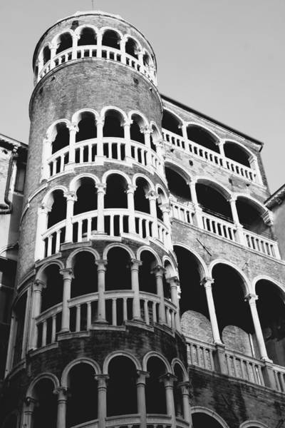 Wall Art - Photograph - Bovolo Staircase In Venice Black And White by Michael Henderson